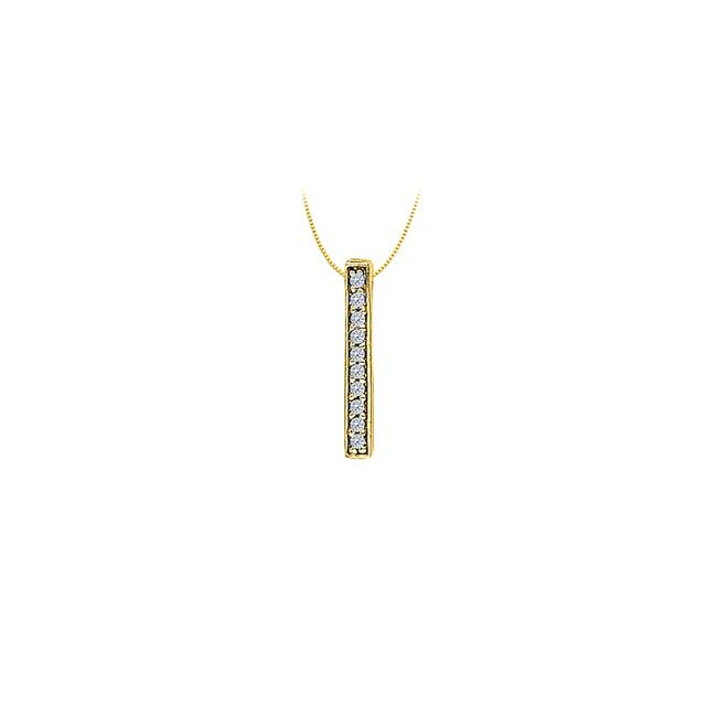 White Cubic Zirconia Straight Line Pendant In Gold Vermeil Over Sterling Sil Necklace White Cubic Zirconia Straight Line Pendant In Gold Vermeil Over Sterling Sil Necklace Image 1