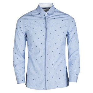 cfbe7486faf6 Gucci Blue Checked Floral Printed Cotton Long Sleeve Cambridge Shirt S