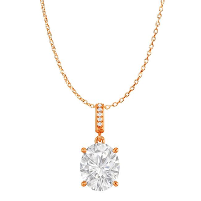 White Cz Accented Oval Cz Pendant In 14k Rose Gold Vermeil Necklace White Cz Accented Oval Cz Pendant In 14k Rose Gold Vermeil Necklace Image 1