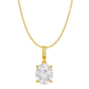 DesignerByVeronica CZ Accented Oval CZ Pendant in 18K Yellow Gold Vermeil