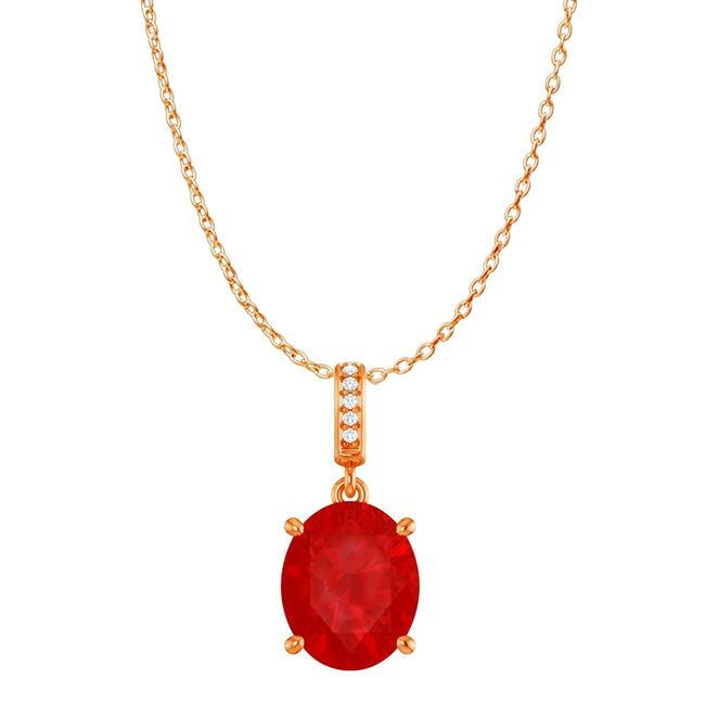 Red Cz Accented Oval Ruby Pendant In 14k Rose Gold Vermeil Necklace Red Cz Accented Oval Ruby Pendant In 14k Rose Gold Vermeil Necklace Image 1