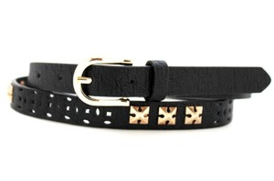 Alwaystyle4you Women Black Faux Leather Bronze Belt Narrow Studs Gold Buckle S-M