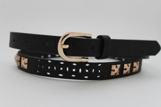 Alwaystyle4you Women Black Faux Leather Bronze Belt Narrow Studs Gold Buckle S-M Image 1
