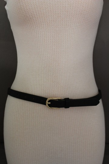 Alwaystyle4you Women Black Faux Leather Bronze Belt Narrow Studs Gold Buckle S-M Image 10