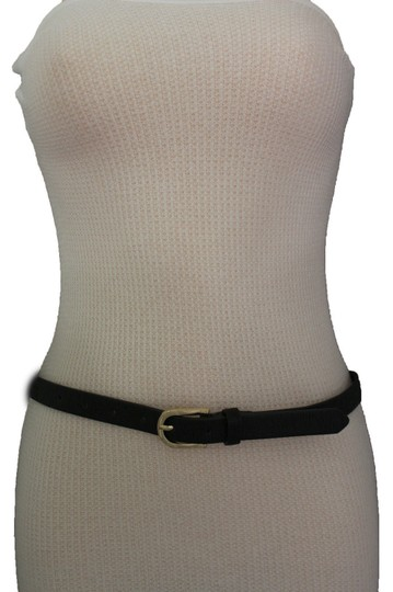 Alwaystyle4you Women Black Faux Leather Bronze Belt Narrow Studs Gold Buckle S-M Image 11