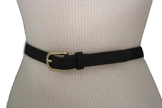 Alwaystyle4you Women Black Faux Leather Bronze Belt Narrow Studs Gold Buckle S-M Image 3