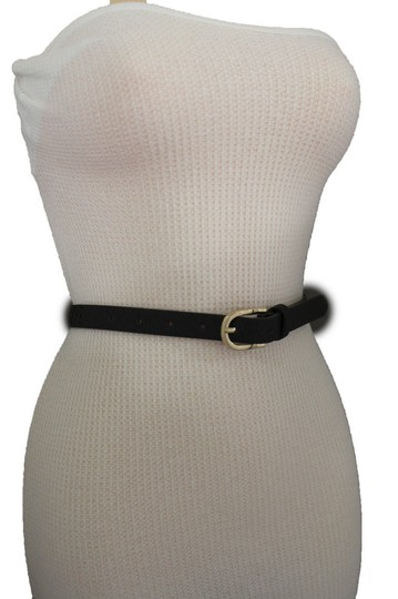 Alwaystyle4you Women Black Faux Leather Bronze Belt Narrow Studs Gold Buckle S-M Image 4