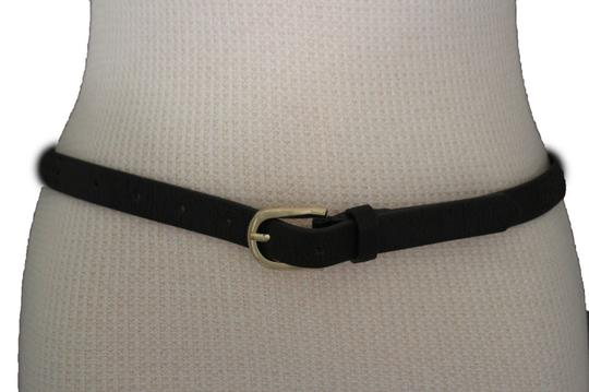 Alwaystyle4you Women Black Faux Leather Bronze Belt Narrow Studs Gold Buckle S-M Image 6