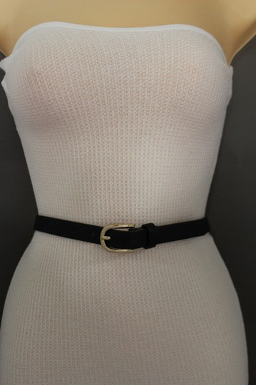 Alwaystyle4you Women Black Faux Leather Bronze Belt Narrow Studs Gold Buckle S-M Image 9