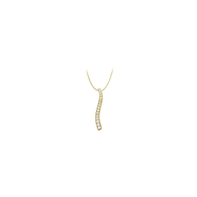 White Cz Fashion Pendant In 925 Sterling Silver Over 18k Yellow Vermeil 0.50 Necklace White Cz Fashion Pendant In 925 Sterling Silver Over 18k Yellow Vermeil 0.50 Necklace Image 1