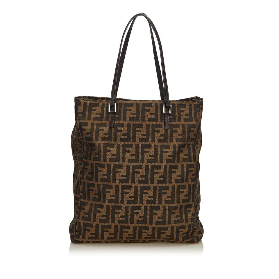 Leather Jacquard Tote Others Brown X X Fendi Zucca Fabric X OACqRZw