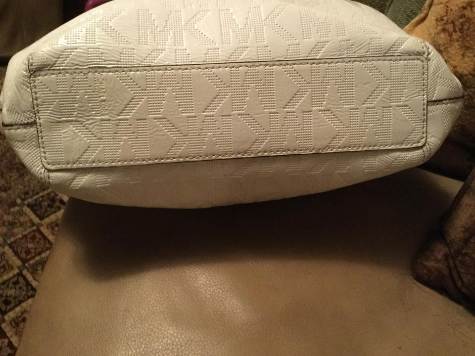 5acd1419839527 Michael Kors Shiny Jet Set Purse with Mk Initials All Over White ...