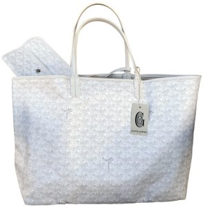 Goyard Pm St. Louis Chevron Tote in White