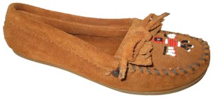Minnetonka Suede Leather Fringed Moccasin Beaded rust Flats