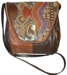 Fifth Avenue Handbags Leather Faux Leather Tapestry Patchwork Vintage Cross Body Bag