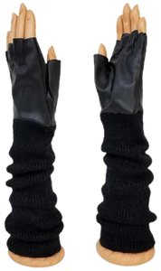 fashionista Black Knitted Leather Gloves Fingerless Arm Warmer Long Opera Gloves