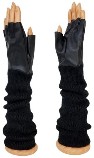fashionista Black Knitted Leather Gloves Fingerless Arm Warmer Long Opera Gloves Image 0