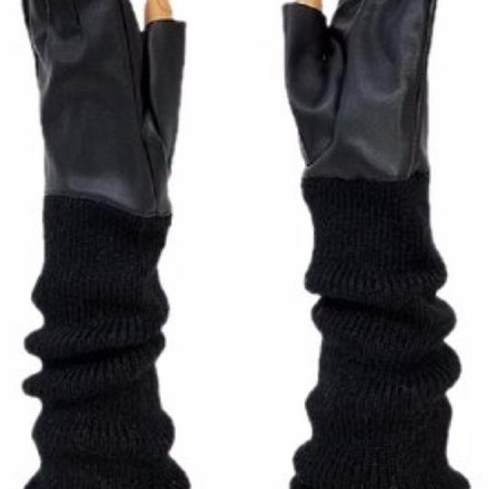 fashionista Black Knitted Leather Gloves Fingerless Arm Warmer Long Opera Gloves Image 1