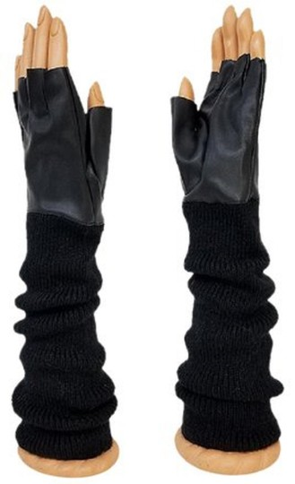 fashionista Black Knitted Leather Gloves Fingerless Arm Warmer Long Opera Gloves Image 2