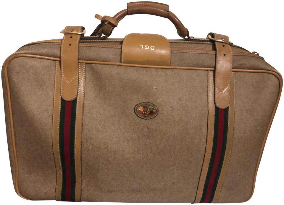 44a6a077af1 Gucci Super Luxurious and Chic Vintage Beige Leather Weekend Travel ...
