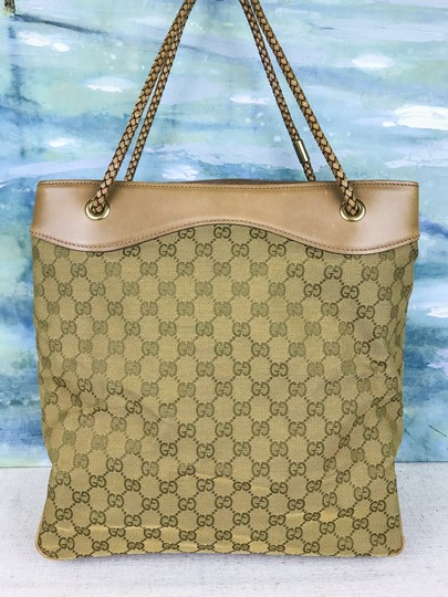 Gucci Canvas Gifford Braided Straps Tote in Brown Image 2