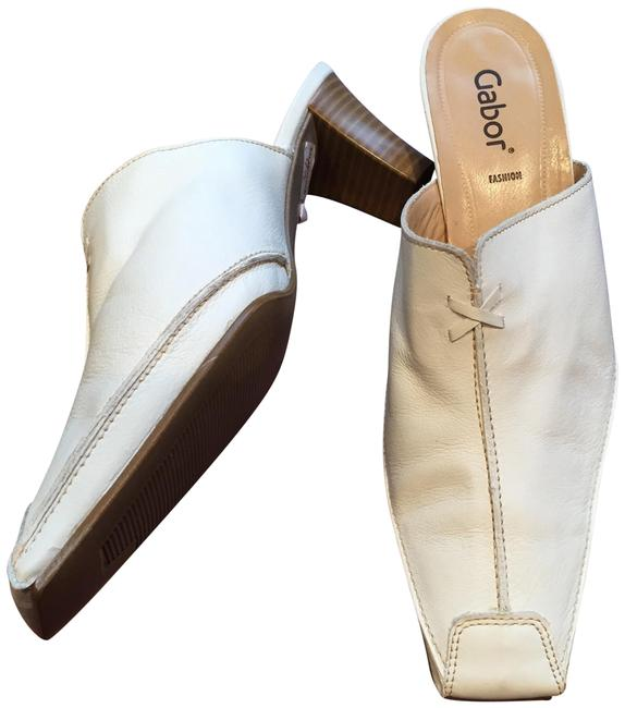 Gabor White Fashion Leather Slide/Mules Mules/Slides Size US 9 Regular (M, B) Gabor White Fashion Leather Slide/Mules Mules/Slides Size US 9 Regular (M, B) Image 1