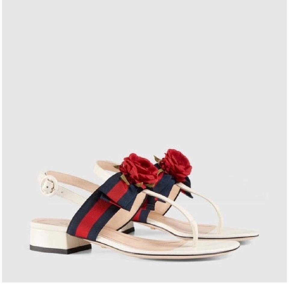 d718563701d3 Gucci Web Bow with Silk Flower Leather Sandals Size EU 38 (Approx ...