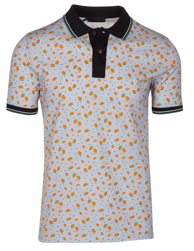 2b60d1257 Prada Gray Men's Cotton Strawberry Print Contrast Polo Tee Shirt ...