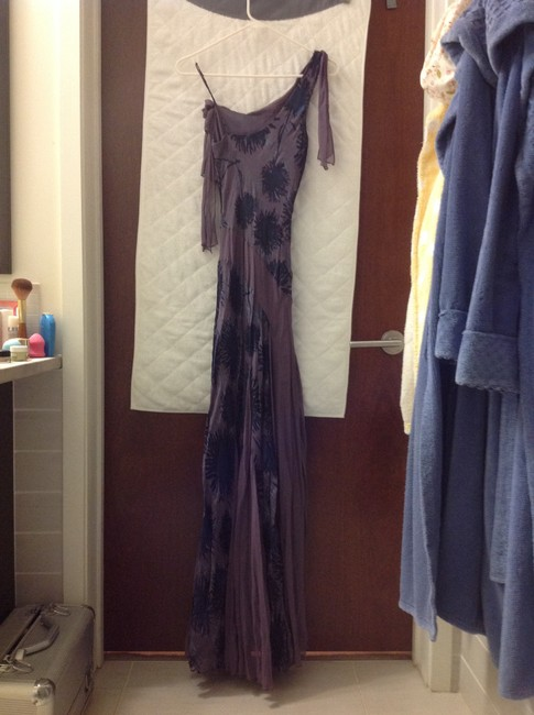 Laundry by Shelli Segal Lavender and Blue Silk Maxie Long Formal Dress Size 2 (XS) Laundry by Shelli Segal Lavender and Blue Silk Maxie Long Formal Dress Size 2 (XS) Image 2