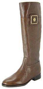 Tory Burch Party Equestrian Almond Toe Logo Brown Boots