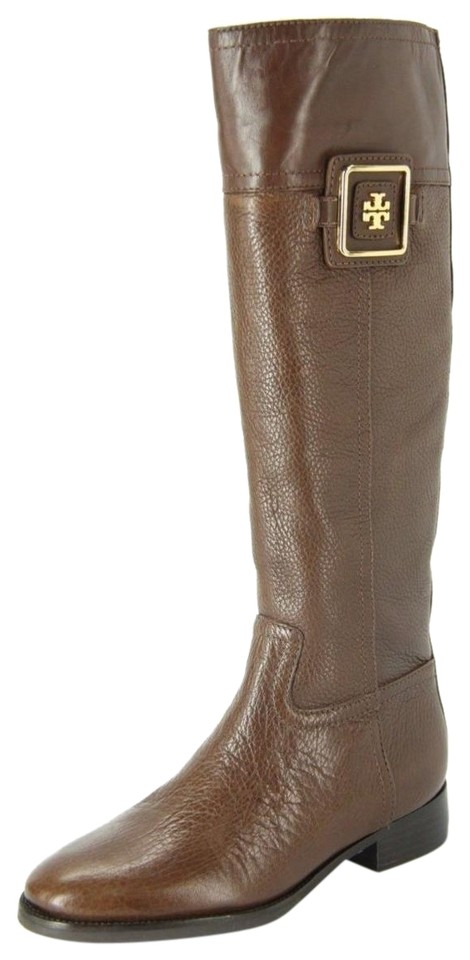 8cf4c29feed2 Tory Burch Brown Leather Logo Plaque Knee High Tall Riding Boots Booties