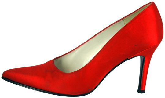 Stuart Weitzman Satin Pointed Toe Red Pumps Image 0