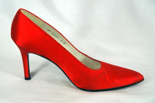 Stuart Weitzman Satin Pointed Toe Red Pumps Image 1
