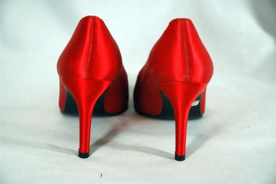 Stuart Weitzman Satin Pointed Toe Red Pumps Image 2
