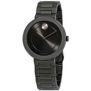Movado Bold Grey Dial Gunmetal Ion-plated Ladies Watch