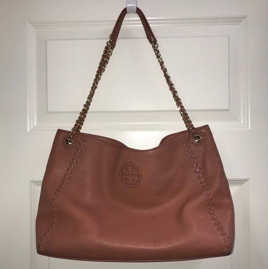 Tory Burch Britten Leather Tote in Maple Sugar Pink/Dusty Rose Image 1