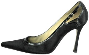 Brian Atwood Satin Patent Leather Pointed Toe Black Pumps