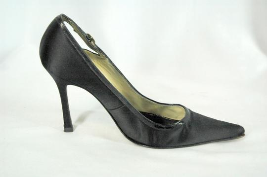 Brian Atwood Satin Patent Leather Pointed Toe Black Pumps Image 1