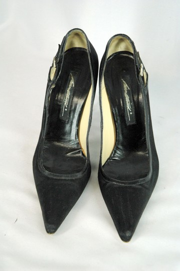 Brian Atwood Satin Patent Leather Pointed Toe Black Pumps Image 3