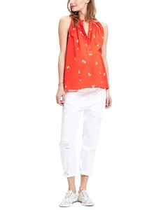 Hatch Collection Swing Maternity Floral Cotton Sleeveless Top red