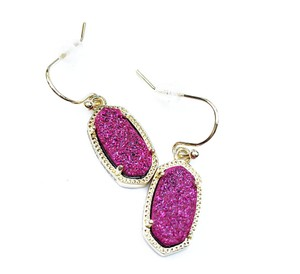 Kendra Scott BRAND NEW Kendra Scott Lee Pink Drusy Stone Earrings Gold