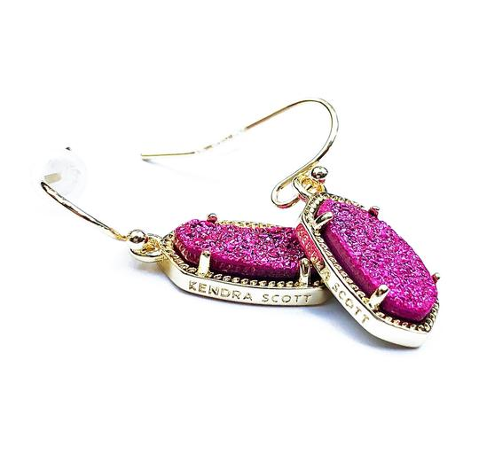 Kendra Scott BRAND NEW Kendra Scott Lee Pink Drusy Stone Earrings Gold Image 1