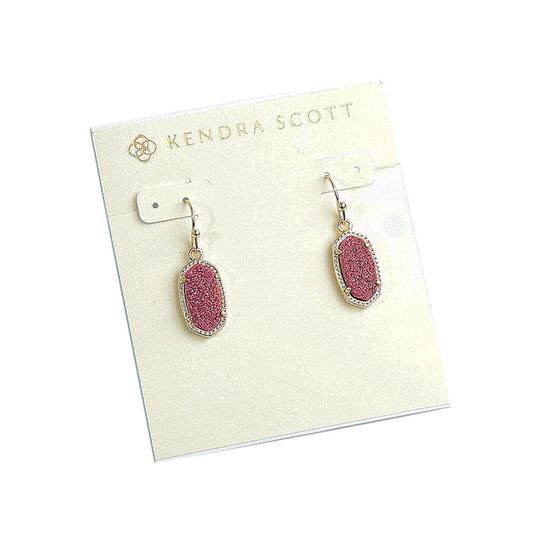 Kendra Scott BRAND NEW Kendra Scott Lee Pink Drusy Stone Earrings Gold Image 3