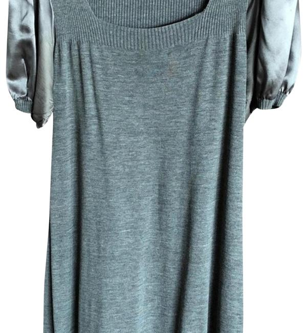 Item - Gray Soft Knit and Silk Shift Mid-length Night Out Dress Size 10 (M)