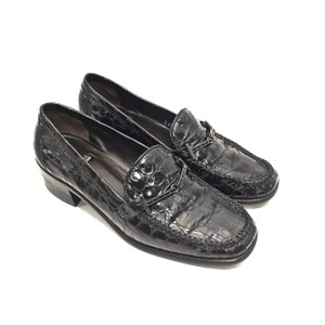 Stuart Weitzman Leather Rhinestone Loafer Black Flats