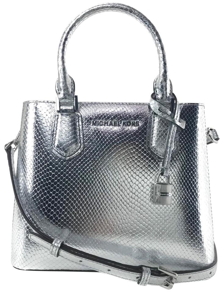 Michael Kors Adele Medium Embossed Shoulder Gray Leather Messenger ... e02f033f90559