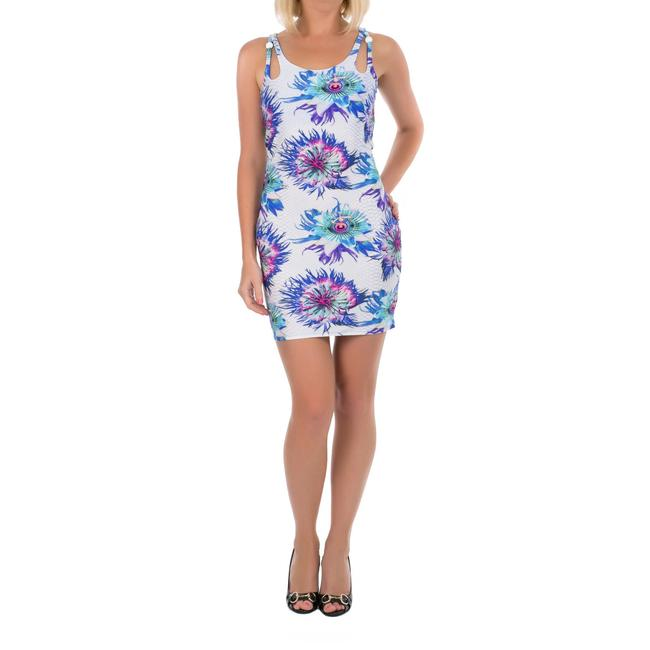 Just Cavalli short dress Blue and White Beach Cover-up Summer Floral Print Mini Sundress on Tradesy