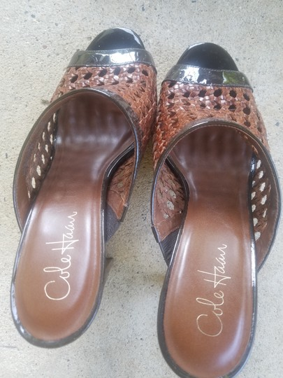 Cole Haan Brown trimmed in patent Leather Mules Image 1