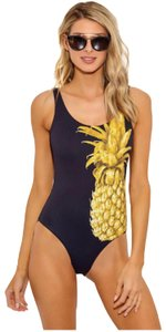Onia Onia Kelly Black Golden Pineapple One Piece Swimsuit