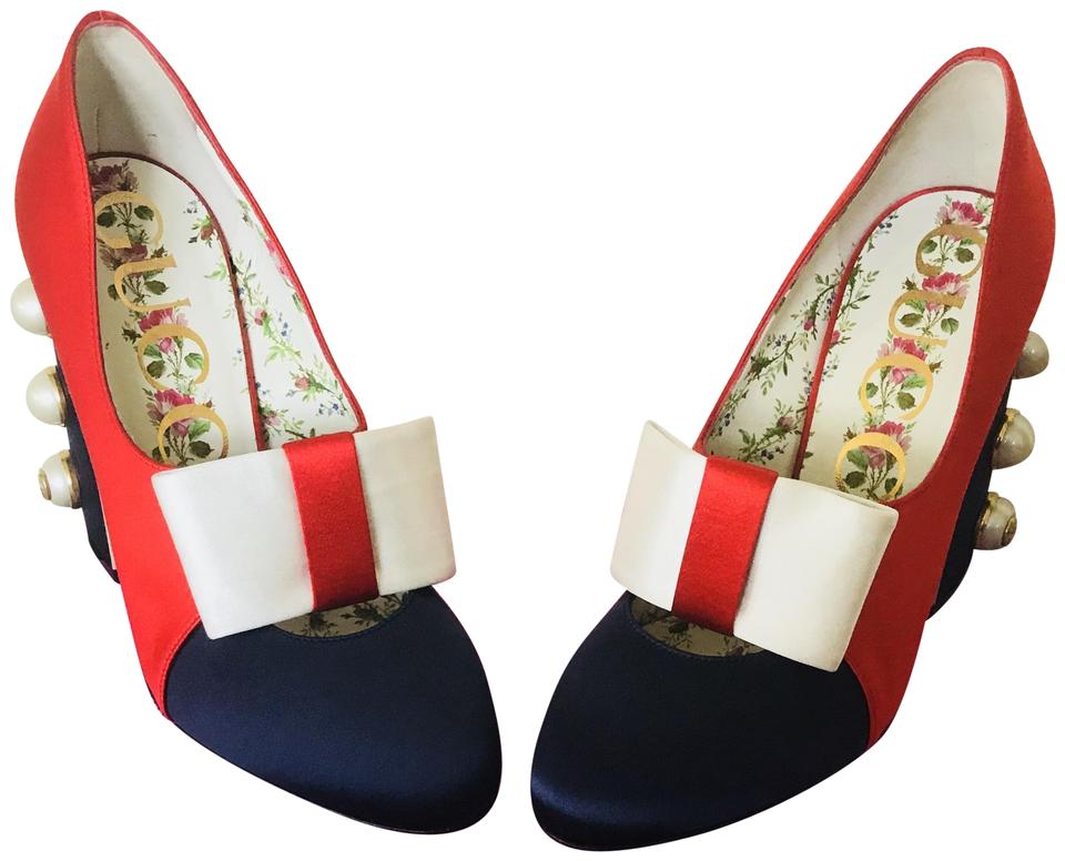 7712e71a33f Gucci Red Blue Bow Pearl Satin Studded Pumps Size US 8 Regular (M